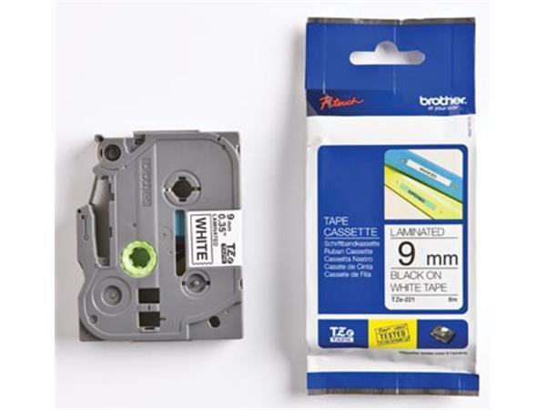 Brother TZe tape voor P-Touch 9 mm. zwart op wit