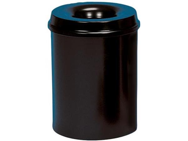 Class'ex papiermand met vlamdover. 15 liter. zwart