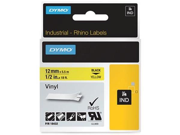 Dymo RHINO vinyltape 12 mm. zwart op geel