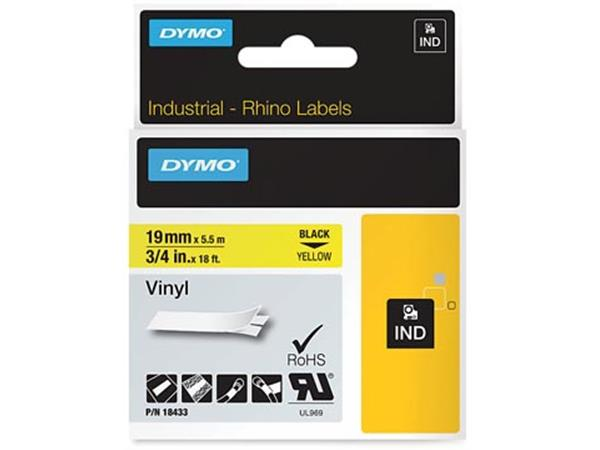 Dymo RHINO vinyltape 19 mm x 5.5 m. zwart op geel