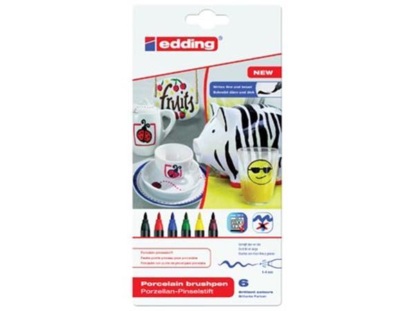 Edding porselein-penseelstift e-4200 set van 6