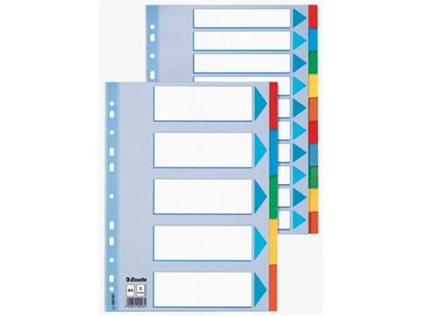 Esselte tabbladen, voor ft A4, karton, 10 tabs, 11-gaatsperforatie