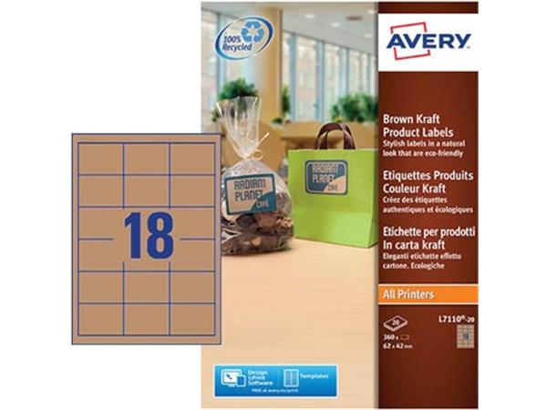 Avery L7110-20 productetiketten ft 62 x 42 mm (b x h), 360 etiketten, kraft