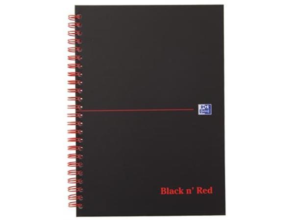 8163a2d0602 Oxford BLACK N' RED spiraalblok karton, 140 bladzijden ft A5, geruit