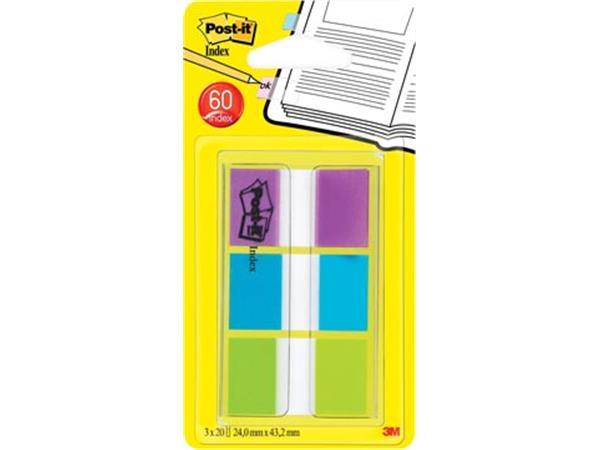 Post-it Index standaard. ft 25.4 x 43.2 mm. bliste