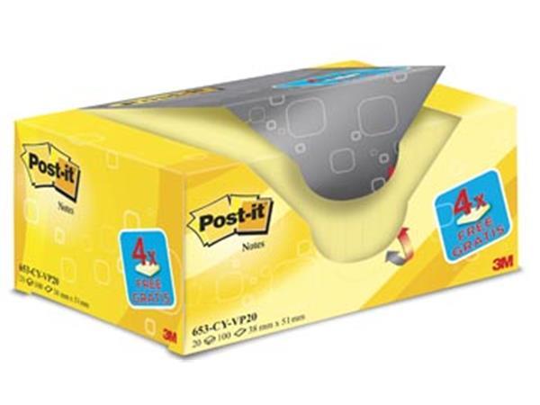 Post-it Notes. ft 38 x 51 mm. geel. blok van 100 v