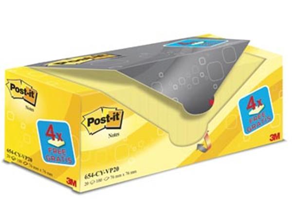 Post-it Notes. ft 76 x 76 mm. geel. 100 vel. pak v