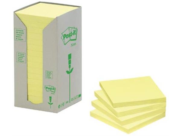 Post-it Notes gerecycleerd. ft 38 x 51 mm. geel. 1