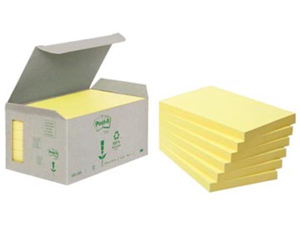 Post-it Notes gerecycleerd. ft 76 x 127 mm. geel.