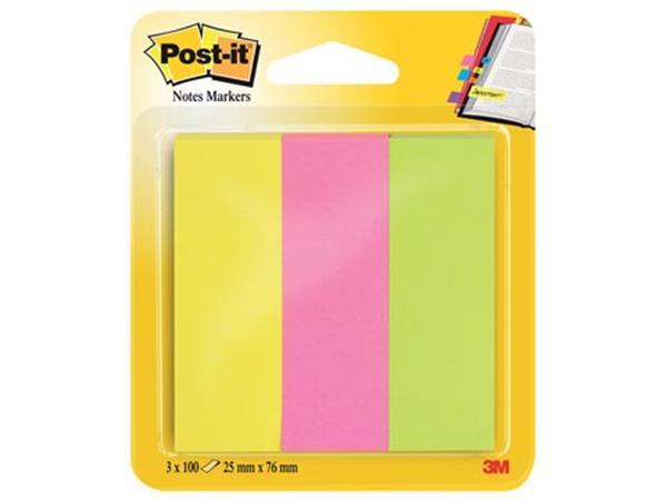 Post-it notes markeerstroken. ft 25 x 76 mm. neon