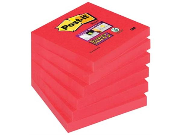 Post-it Super Sticky notes. ft 76 x 76 mm. poppy r