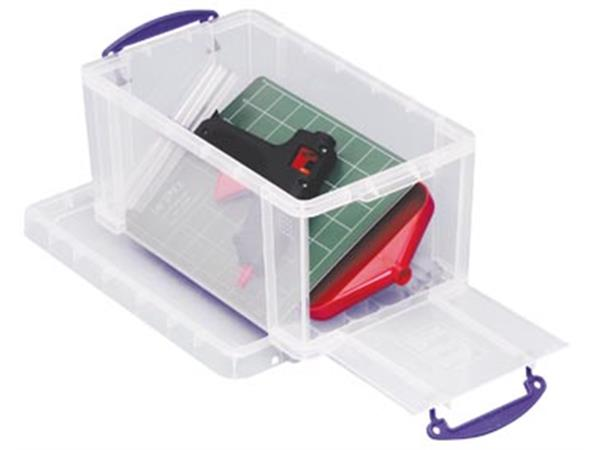 Really Useful Box 8 liter met opening aan de voorkant, transparant