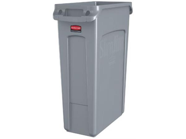 Rubbermaid afvalcontainer Slim Jim. 87 liter. grij