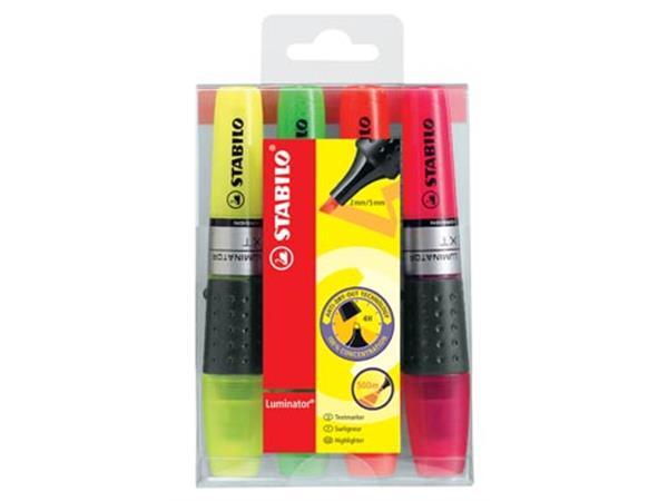Stabilo Markeerstift Luminator etui van 4 stuks in geassorteerde kleuren: geel, groen, oranje en roze