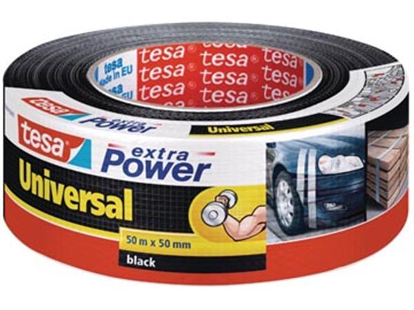 Tesa extra Power Universal. ft 50 mm x 50 m. zwart