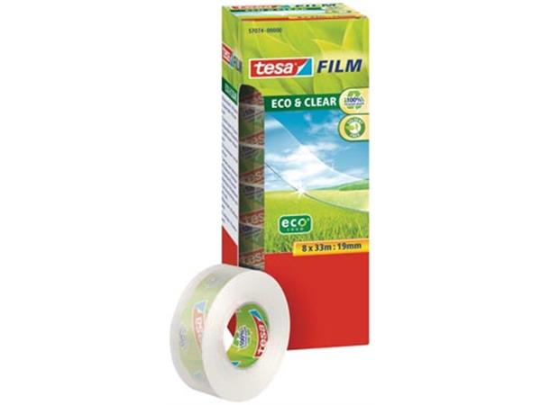 Tesafilm eco & clear ecoLogo. ft 19 mm x 33 m. tor