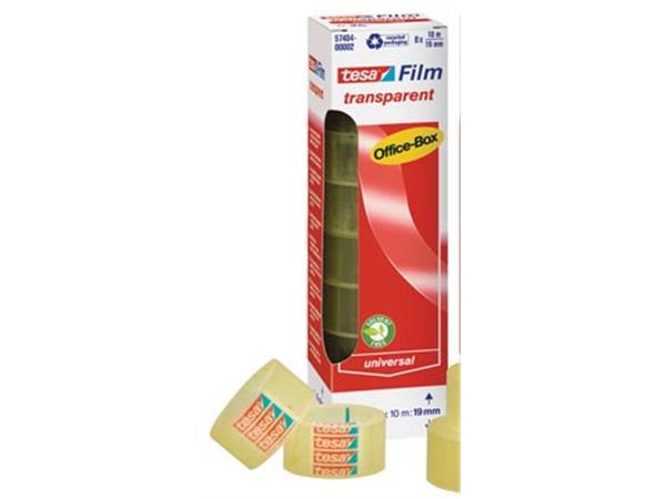Tesafilm transparante tape. ft 19 mm x 10 m. 8 rol