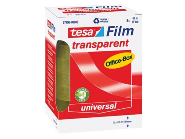 Tesafilm transparante tape. ft 19 mm x 66 m. 8 rol