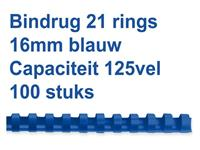 BINDRUG GBC 16MM 21RINGS A4 BLAUW