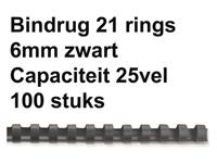 BINDRUG GBC 6MM 21RINGS A4 ZWART