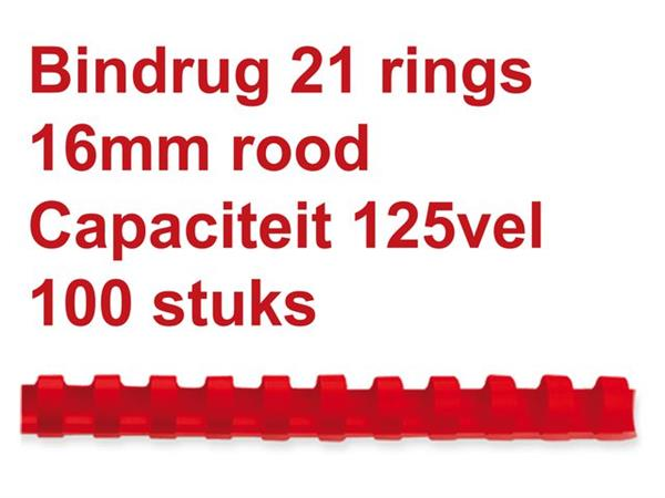 BINDRUG GBC 16MM 21RINGS A4 ROOD