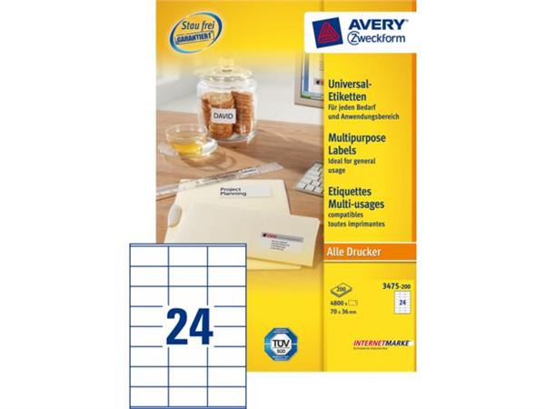 PRINTER ETIKET AVERY LABELS ZW-3475 70X36MM WIT