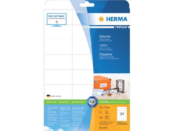 PRINTERETIKET HERMA 4390 70X37MM A4 VELLEN 600 ST