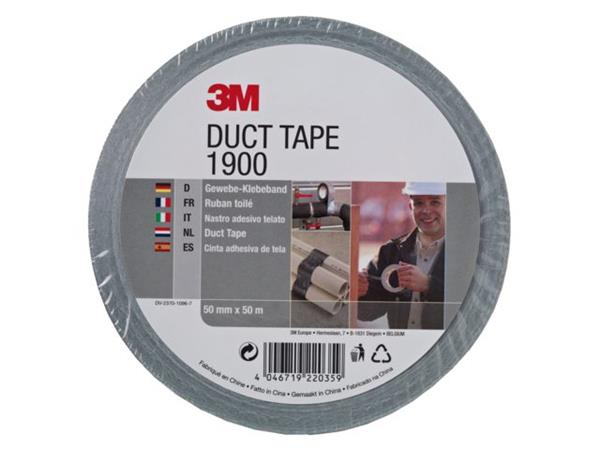 PLAKBAND 3M DUCT TAPE 1900 50MM X 50METER ZILVER