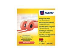 Avery Prijstangetiketten 1 regel, 26 x 12 x 15000 mm, rood (pak 10 rollen)