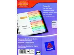 Avery ReadyIndex™, voorbedrukt tabblad, karton, 12-delig, A4, assorti