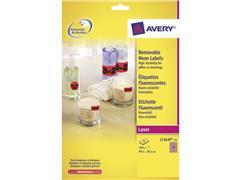 Avery ZWECKFORM neon gekleurde afneembare etiketten 99 x 38,1 mm, neon pink, L7363P (pak 350 stuks)