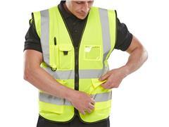 B SEEN Executive Veiligheidsvest, Reflecterend, Maat XL, Geel