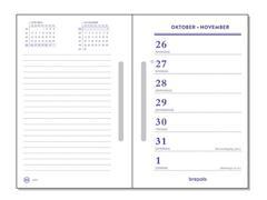 Brepols Omlegagenda met Sleuf, Bureaukalender Navulling, 7 dagen per 2 pagina's, wit