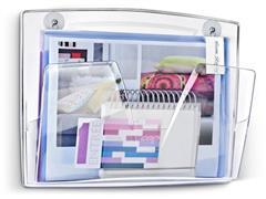 Cep ReCeption 170 M magnetische wandbrochurehouder, 361 x 86 x 270 mm, doorzichtig polystyreen