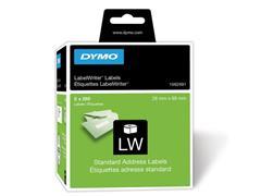 Dymo 1982991 LW Adreslabels, Papier, 28 x 89 mm, Zwart op Wit, 2 x 260 labels (pak 2 stuks)