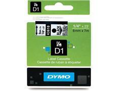 Dymo D1 Labelcassette, 6 mm x 7 m, Zwart op Transparant