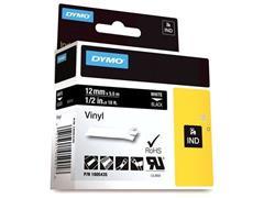 Dymo Rhino Tape, Vinyl, 12 mm, Wit Op Zwart