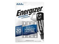 Energizer Ultimate Lithium AAA Batterij, 1,5 V (pak 4 stuks)