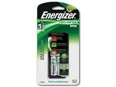 Energizer Minioplader inclusief 2 AA batterijen, 2 individuele AA/AAA oplaadvakken, 's nachts opladen, NiMH (set 3 stuks)