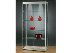 GPC1000 Vitrinekast met LED Verlichting, 200 x 100 x 40 cm, Glas en Aluminium, Zilveren Lijst