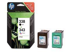 HP 338/343 Inktcartridge, Zwart en Kleur (pak 2 stuks)