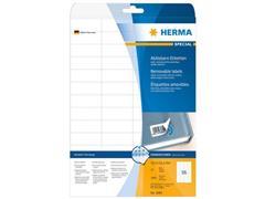 Herma Verwijderbaar papieretiket, 52,5 x 21,2 mm, 25 vellen, 56 etiketten per A4-vel, wit (pak 1400 stuks)