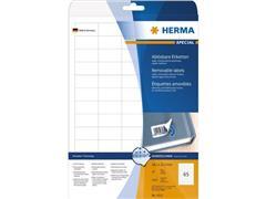 Herma Verwijderbaar papieretiket, 38,1 x 21,2 mm, 25 vellen, 65 etiketten per A4-vel, wit (pak 1625 stuks)