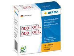 Herma Nummer etiketten 10x22mm, opdruk rood (pak 1000 stuks)