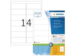 Herma Premium permanent papieretiket, 99,1 x 38,1 mm, 100 vellen, 14 etiketten per A4-vel, wit (pak 1400 stuks)