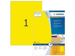 Herma Permanent gekleurd papieretiket, 210 x 297 mm, 100 vellen, 1 etiket per A4-vel, geel (pak 100 stuks)
