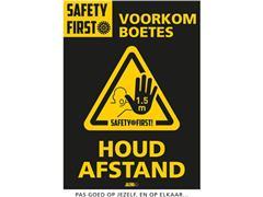 Jalema Deursticker Houd Afstand Voorkom Boete, A4, 200 x 300 mm, Geel-Zwart (pak 2 stuks)