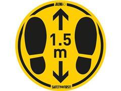 Jalema Vloersticker Houd Afstand, Met voetstappen, Voor ruwe vloeren, diameter 350 mm, Geel en zwart (pak 2 stuks)