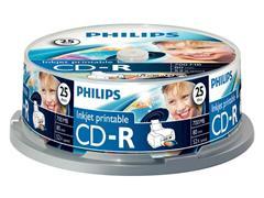 Philips CD-R Recordable Spindle, printable (doos 15 x 25 stuks)