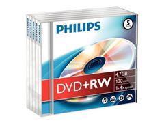 Philips DW4S4J05F DVD+RW, 4.7 GB, Jewelcase (pak 5 stuks)
